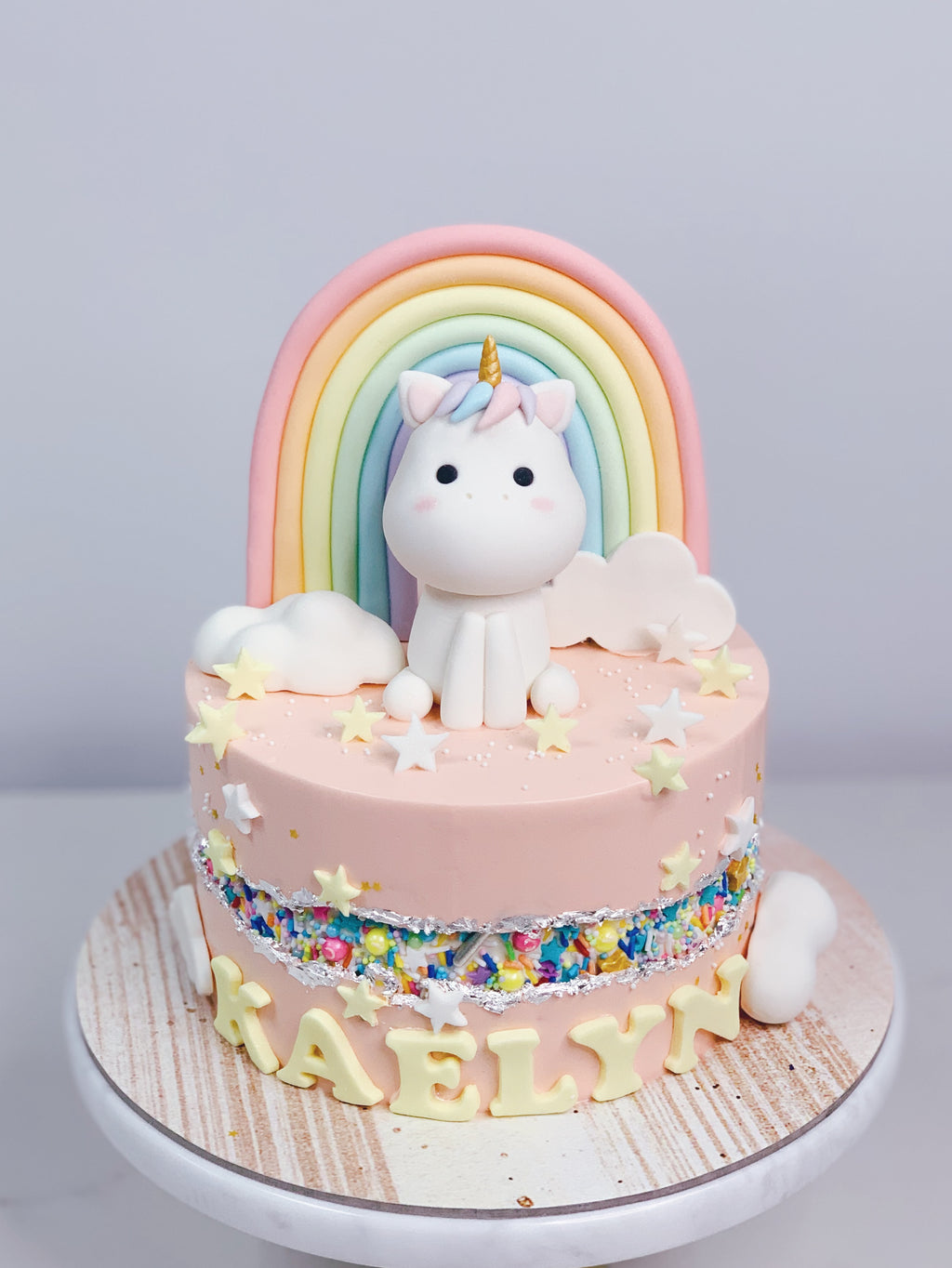 Pink Fault Line Unicorn Cake with Rainbow