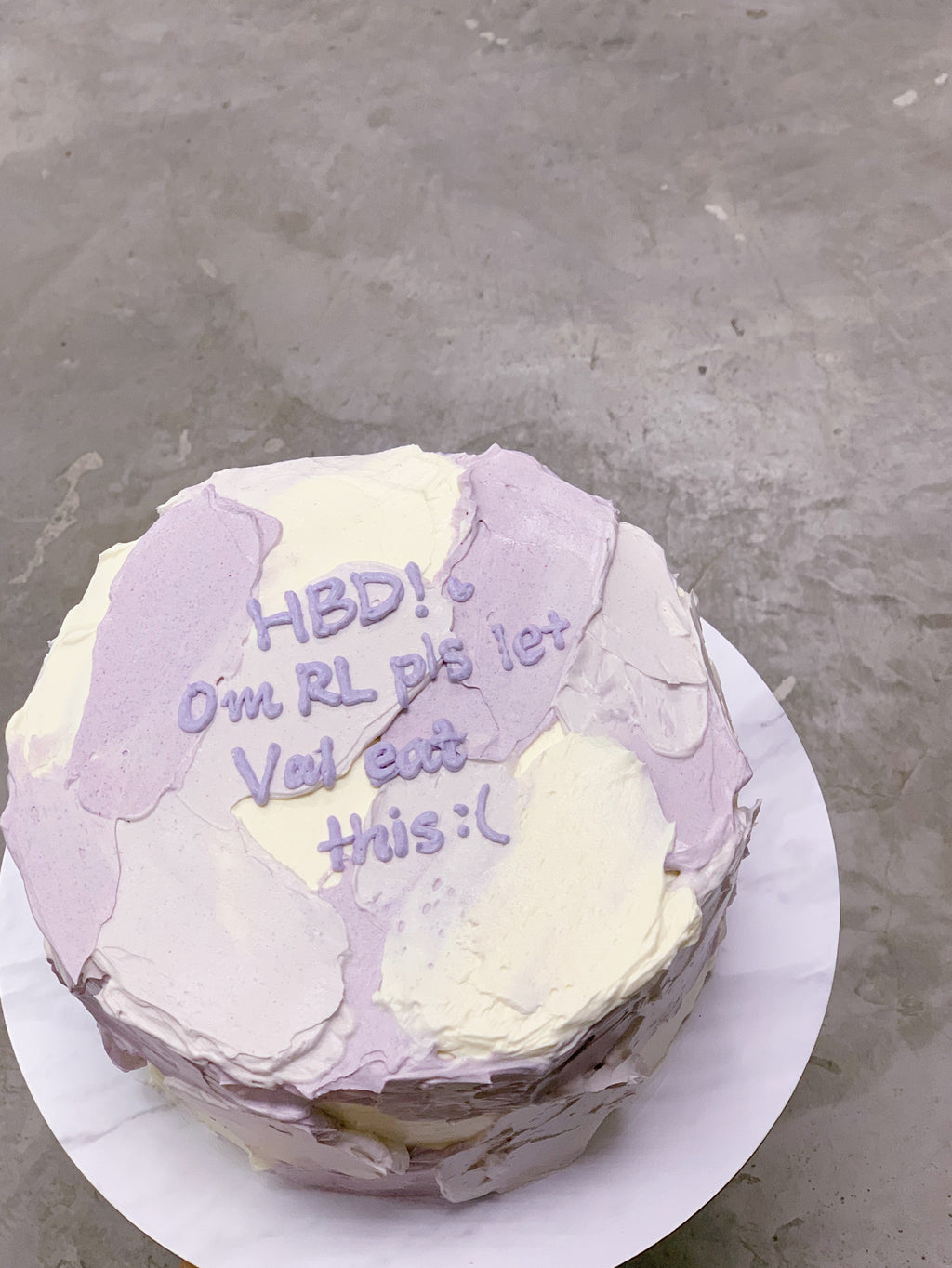 Minimalist Korean Message Cake- Purple Textured Colourblock