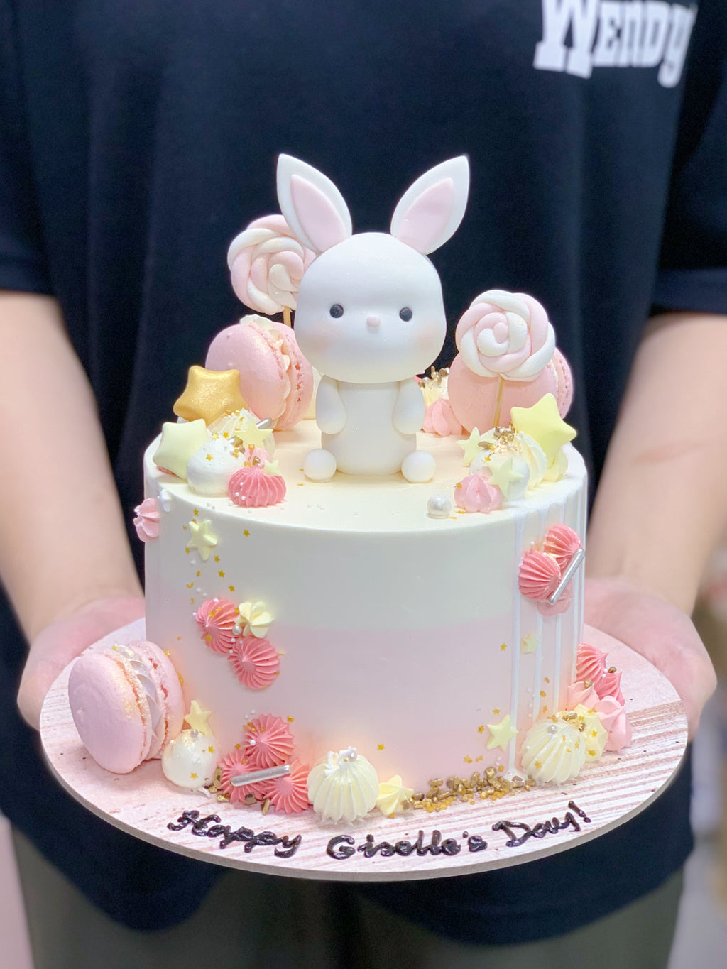 Bunny Pink Cake with Macarons, Lollipop and Stars
