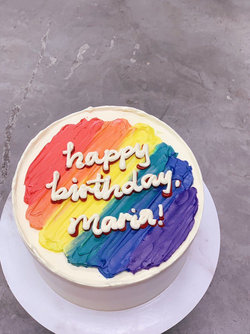 Minimalist Korean Message Cake- Rainbow