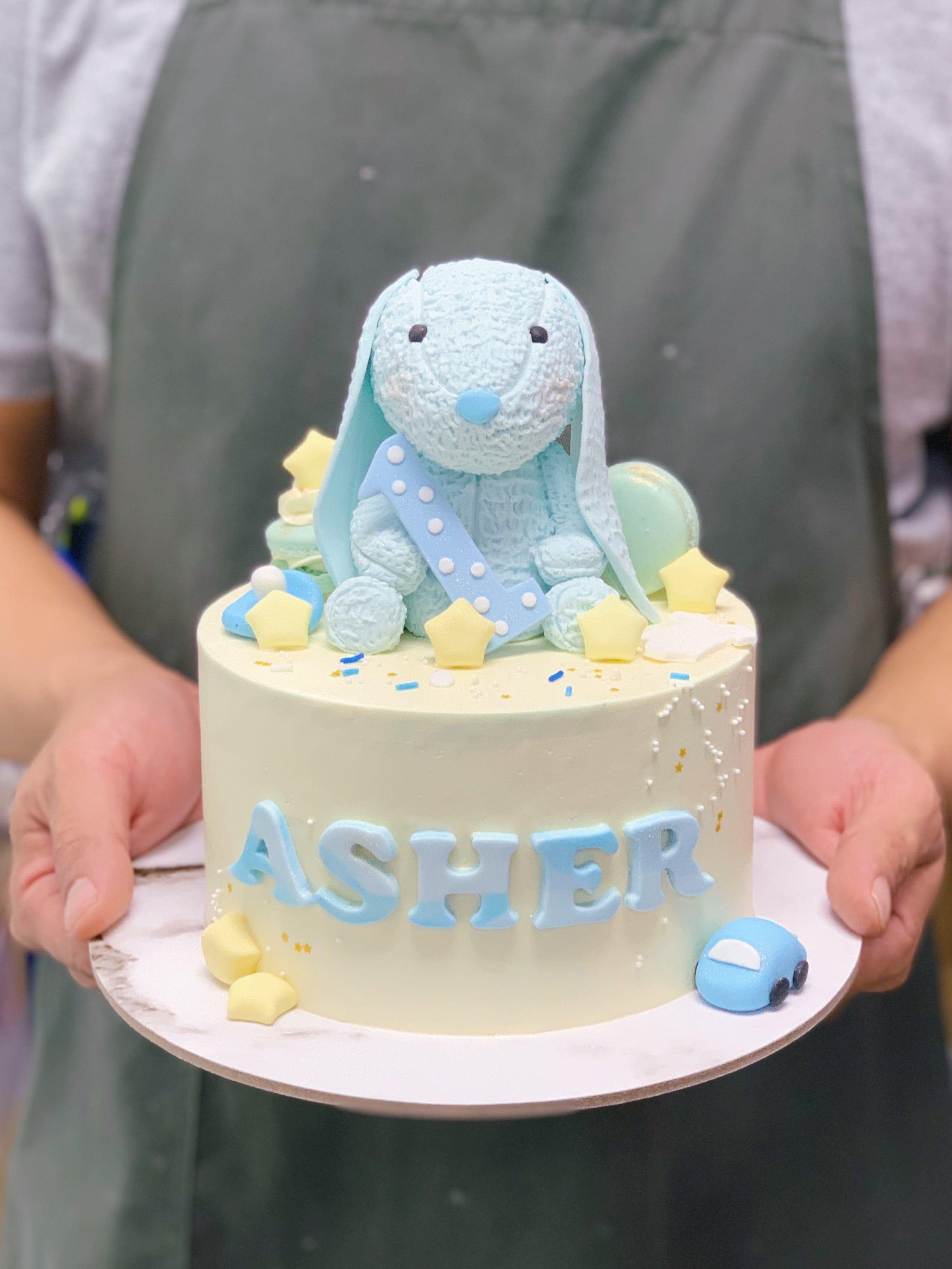 Jelly Cat Bunny Cake with Stars and Macarons
