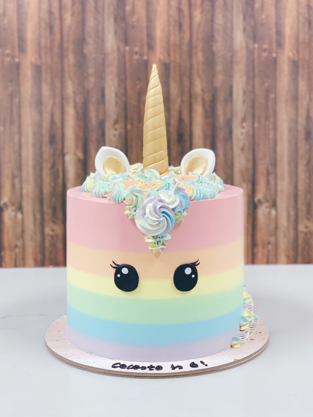 Pastel Rainbow Unicorn with Gold Horn