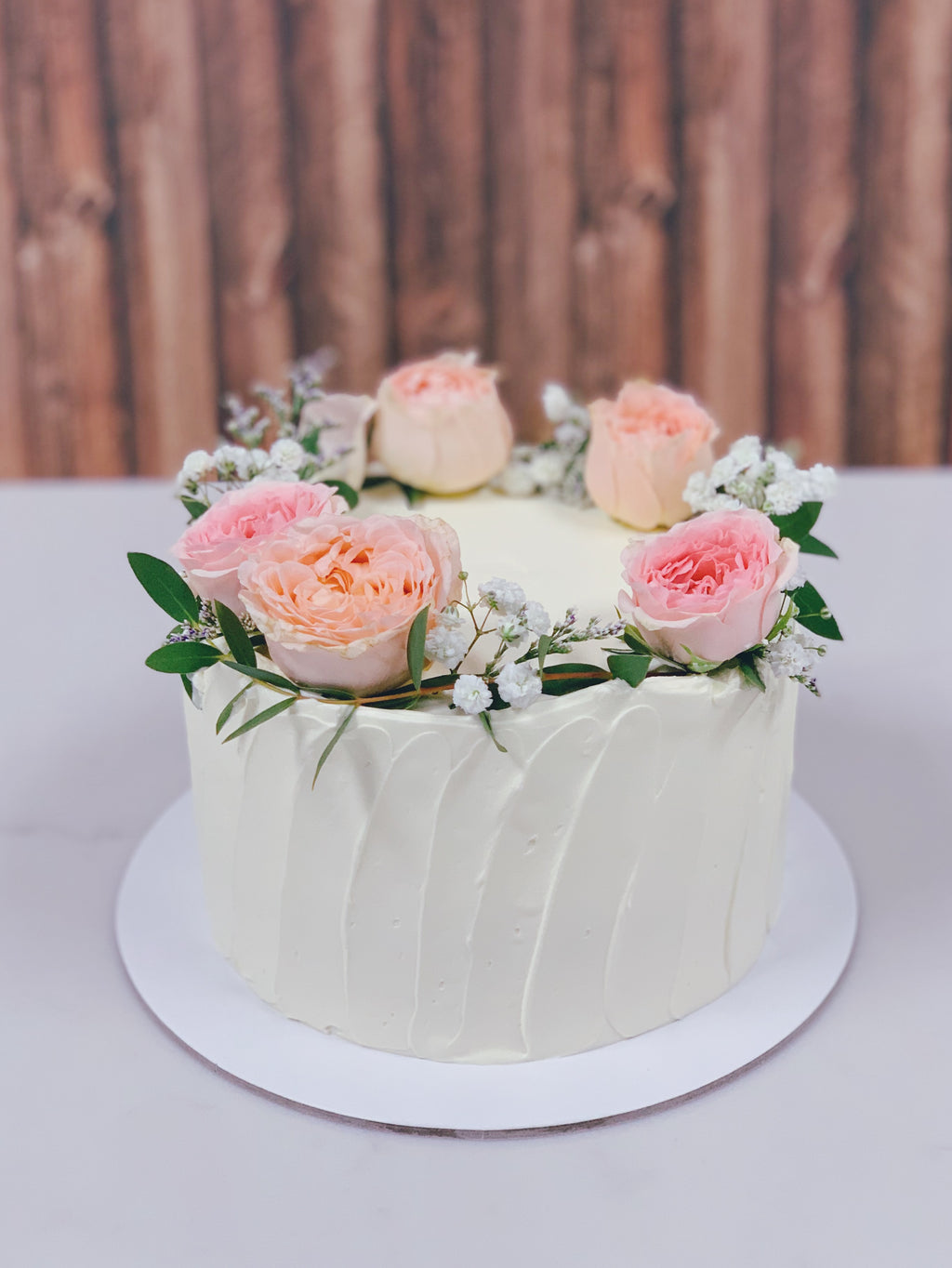 Blush Floral Wreath Cake
