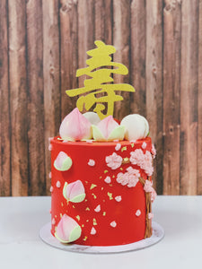 Longevity Cake with Floral Details and Toppings