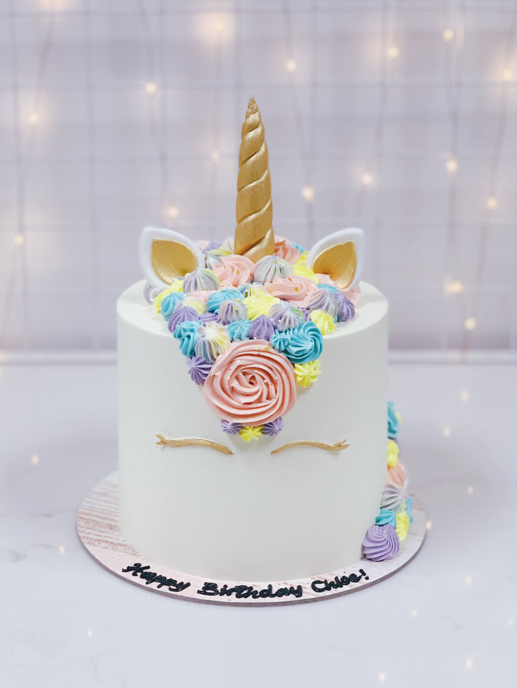 Unicorn Cake with Gold Horn