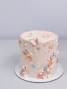 Blush and Gold Textured Cake