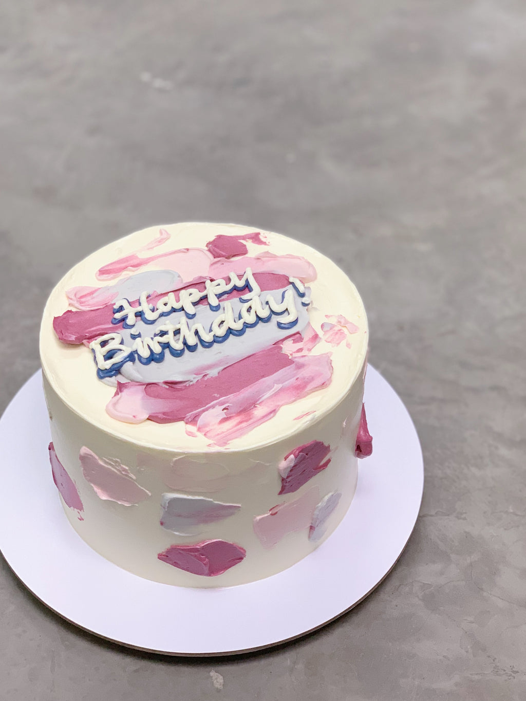 Minimalist Korean Message Cake- Purple Strokes