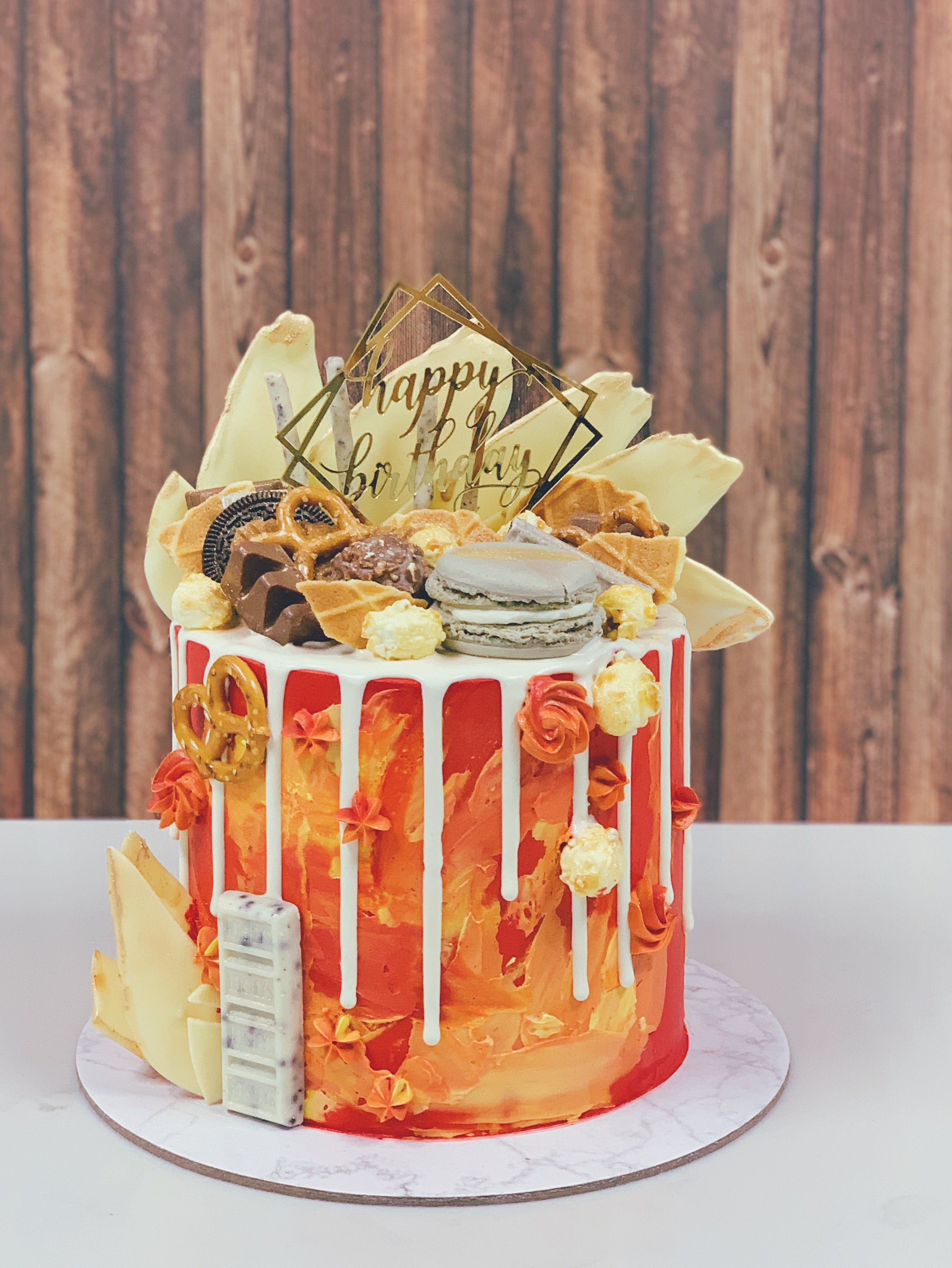 Fiery Watercolour Drip Cake with Toppings