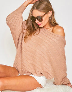 Slouchy Horizontal Cable Knit Sweater