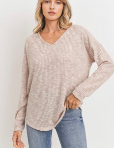 Brushed Waffle V-neck Top (3 colors)
