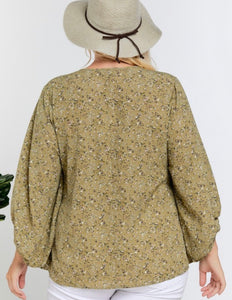 Curvy Woodland Floral Blouse