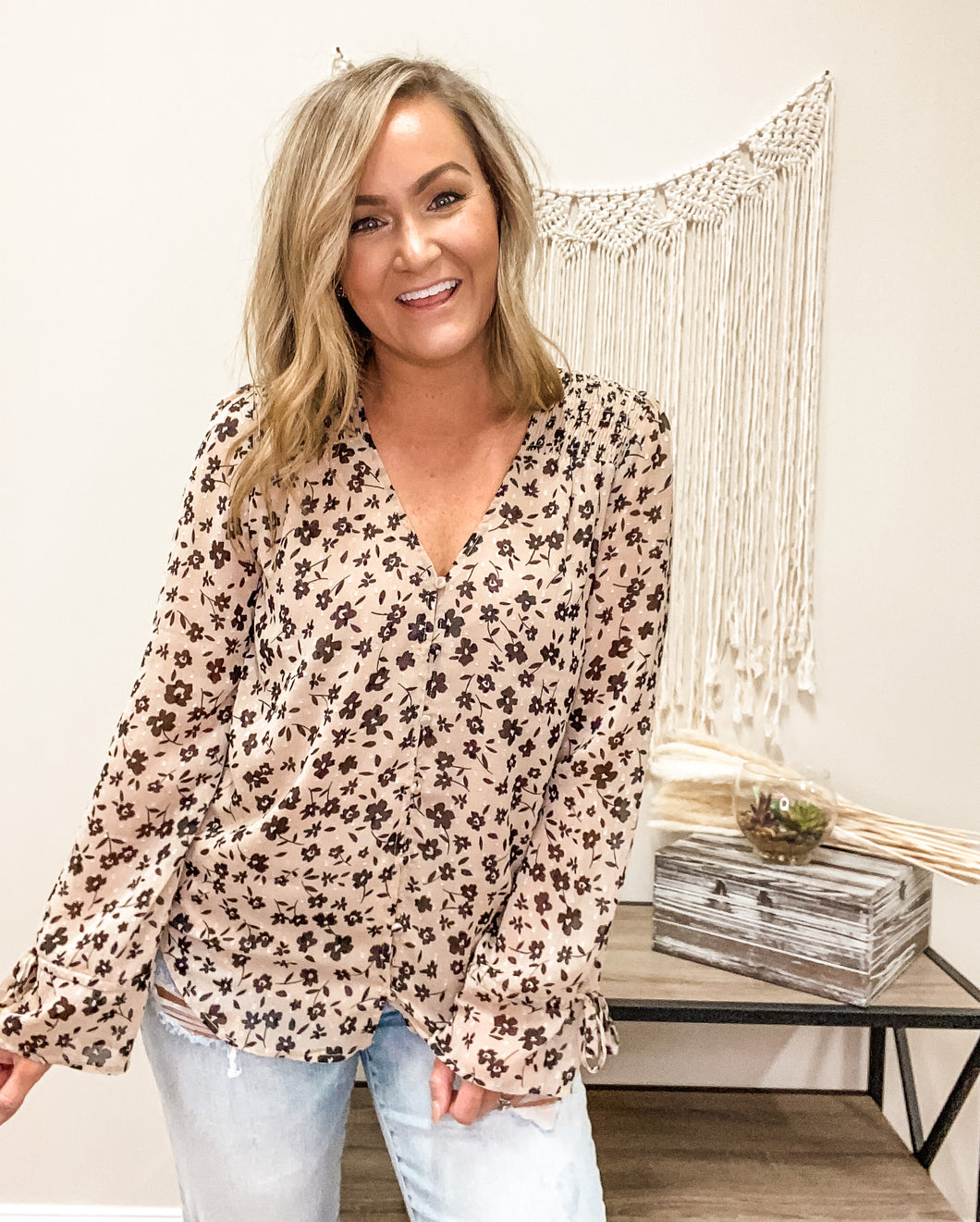 Taupe Blooms Blouse