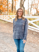 Load image into Gallery viewer, Charcoal Crew Neck Mixed Yarn Sweater