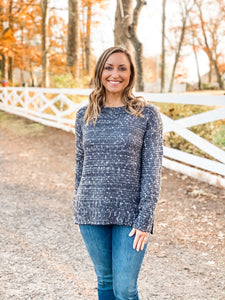 Charcoal Crew Neck Mixed Yarn Sweater