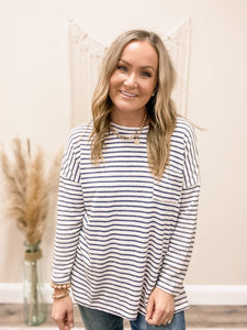 Striped Long Sleeve Pocket Top