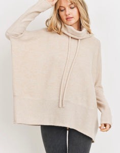 Oversized Turtle Neck Drawstring Top