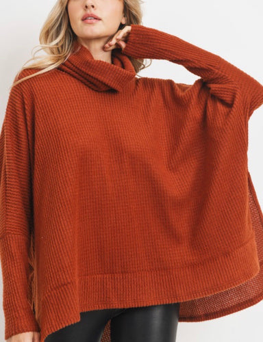 Oversized Brushed Waffle Turtleneck (5 colors)