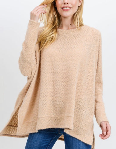 Fuzzy Knit Oversized Top (4 Colors)