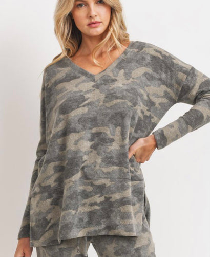 Camo Brushed Fleece V Neck Top