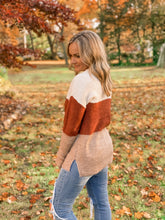 Load image into Gallery viewer, Oatmeal & Rust Waffle Knit Sweater