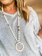 Load image into Gallery viewer, Ivory Beaded Necklace with Pendant