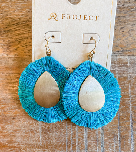 Aqua Fringe Earrings