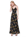 Floral Prints Casual Long Dress Black