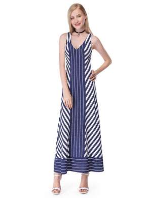 Stripes Casual Dress Navy Blue