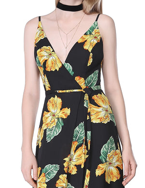 Sexy Neckline Large Floral Prints Dress Black