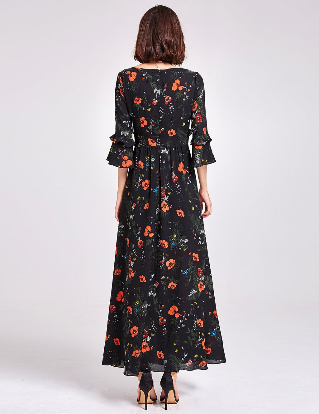 Sexy Neckline Flowery Dress Black