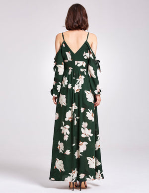 Floral Prints Casual Long Dress Green