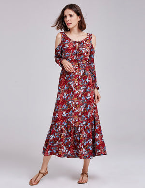 Floral Prints Bare Shoulders Dress Burgundy