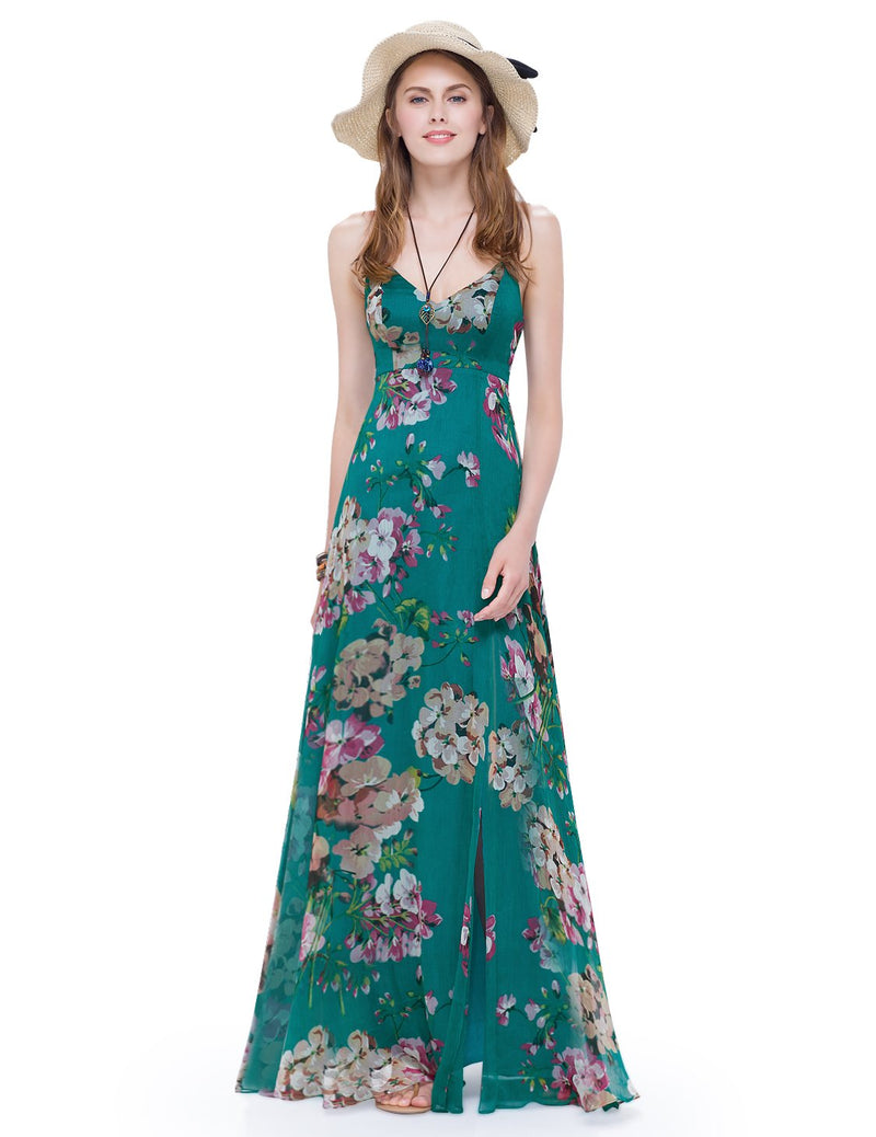 Vibrant Floral Design Long Beach Dress