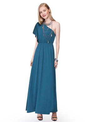 One Shoulder Ruffles Long Maxi Dress