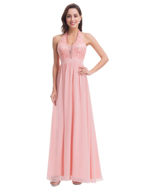 Halterneck Romantic Maxi Dress Pink