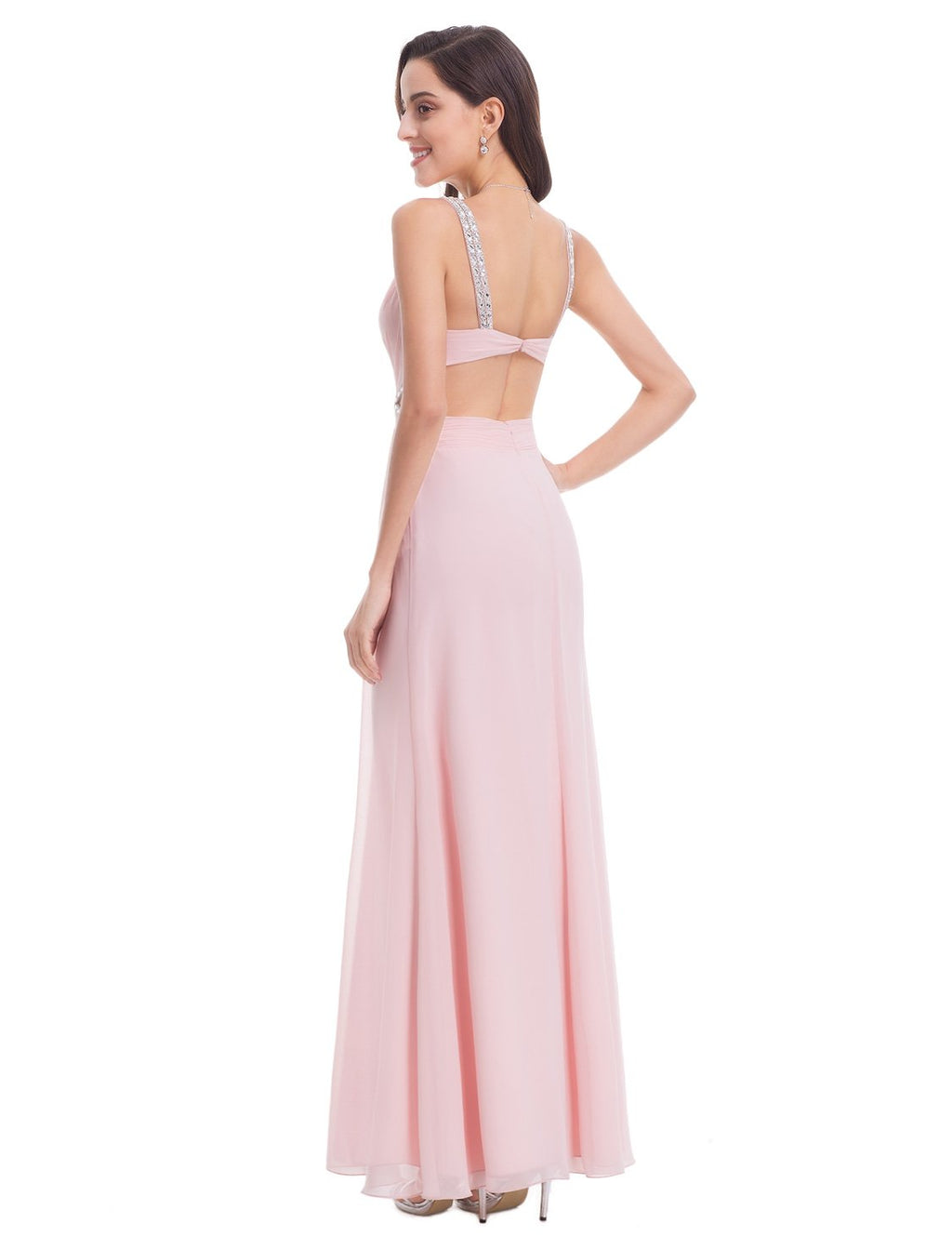 Sexy Front And Back Evening Dress Pink