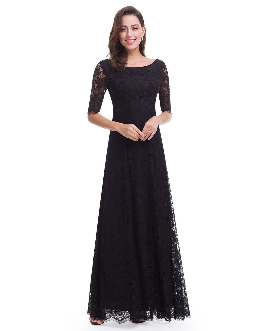 Half Sleeves Long Lace Gown In Black