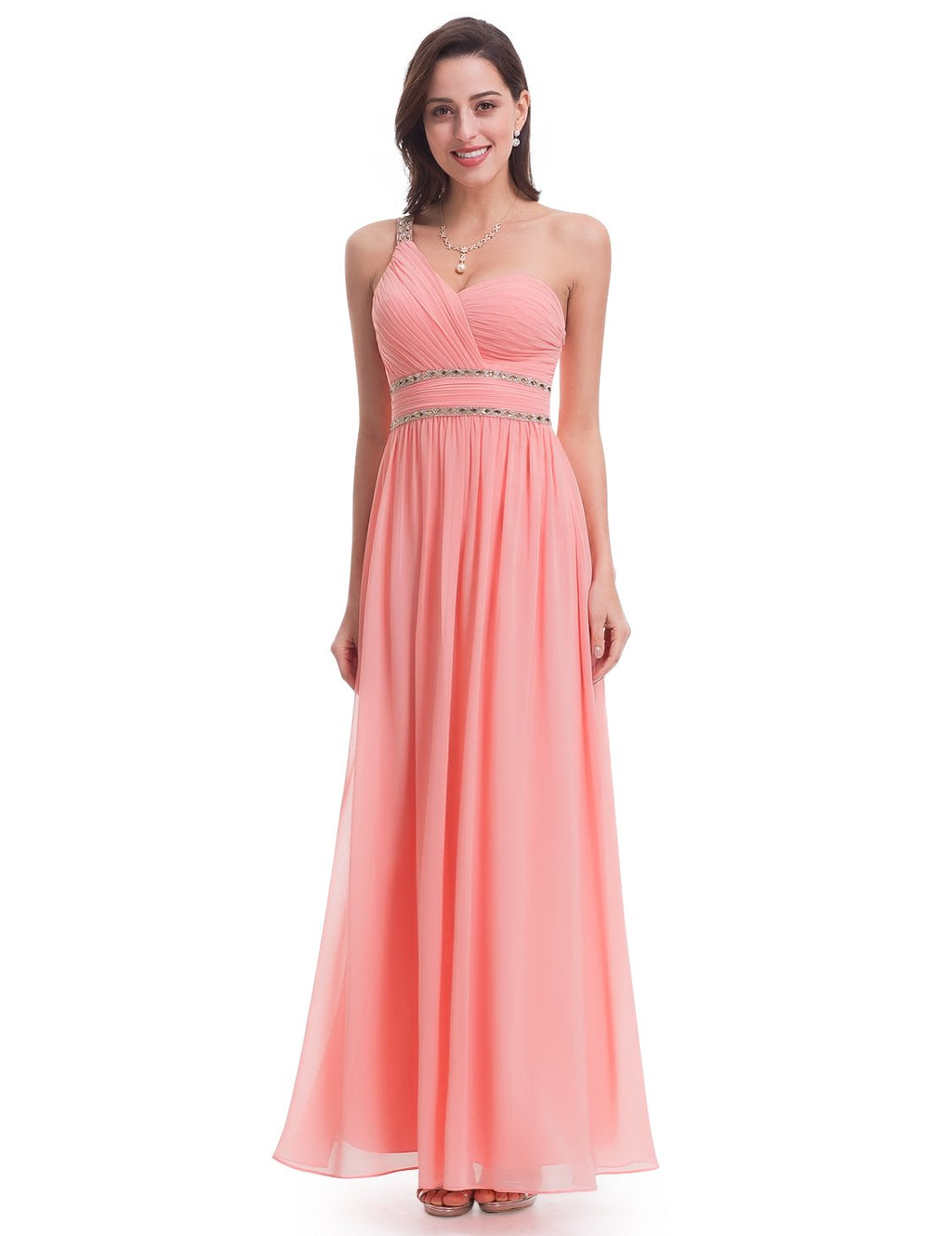 One Shoulder Sexy Neckline Long Maxi Dress
