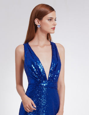 Deep V Neck Dress Sapphire Blue