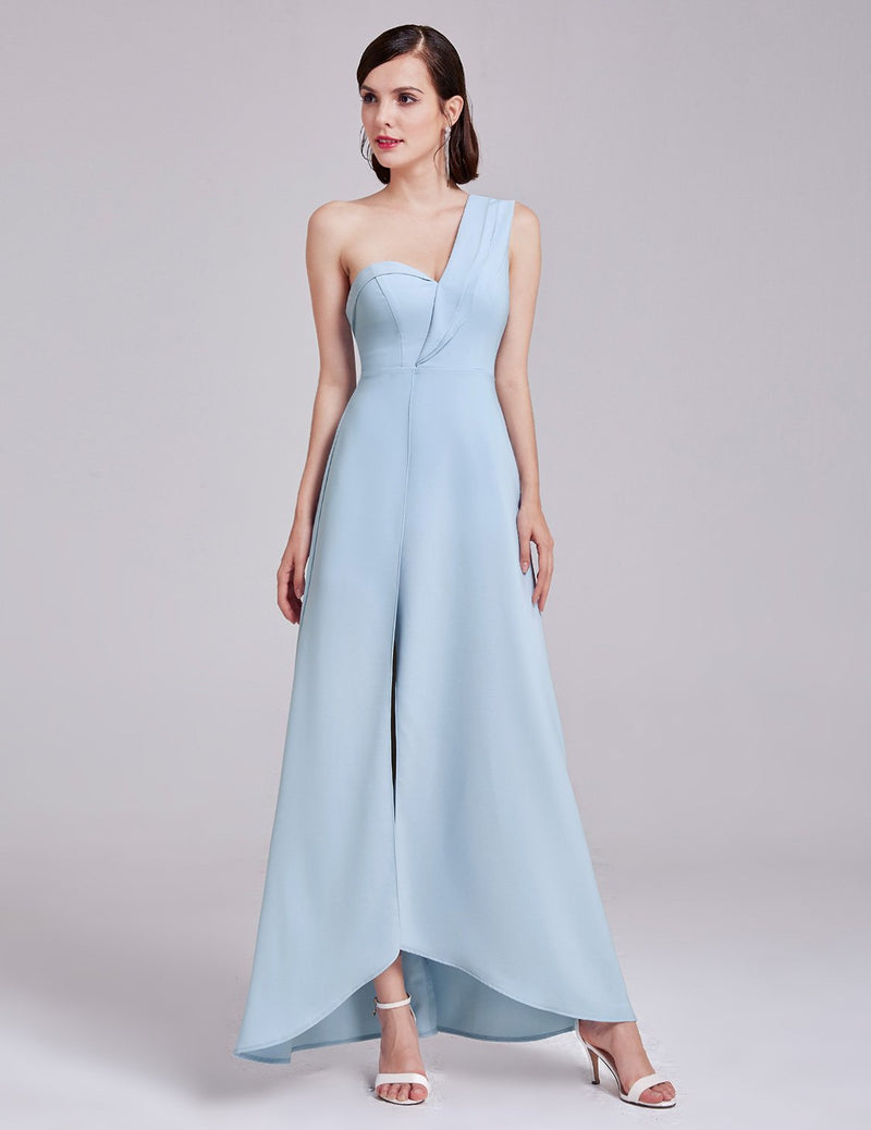 One Shoulder Formal Long Dress Blue