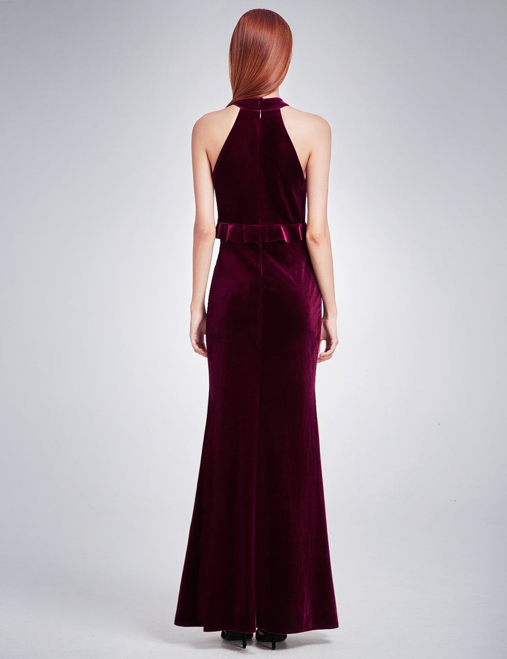High Collar Long Maxi Dress Burgundy