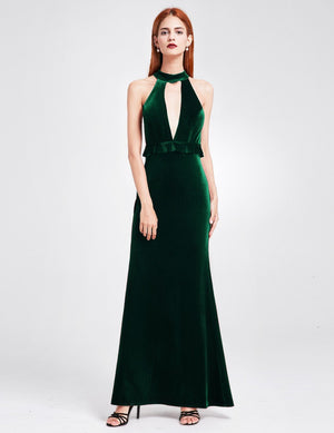 High Collar Long Maxi Dress Dark Green