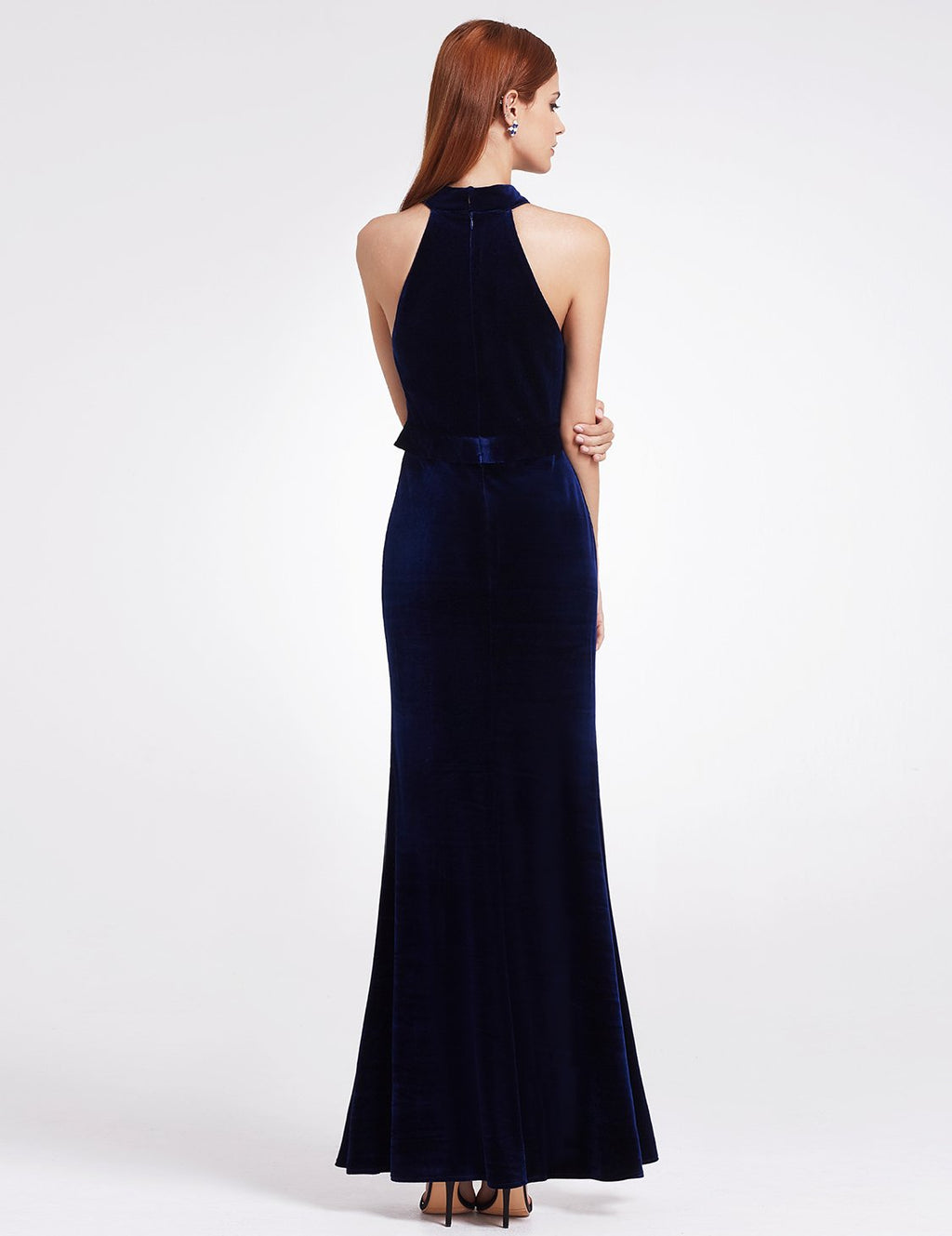 High Collar Long Maxi Dress Blue