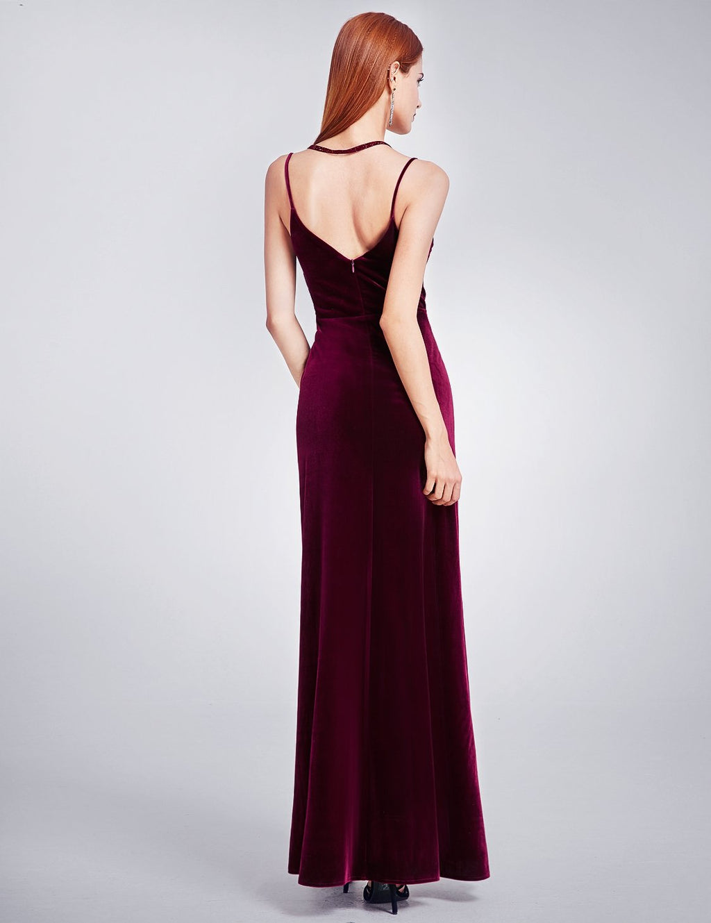 Sexy High Slit Evening Dress Burgundy
