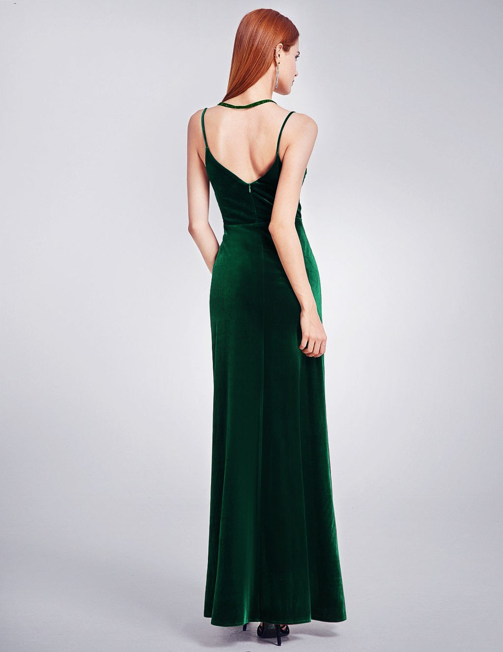 Sexy High Slit Evening Dress Dark Green