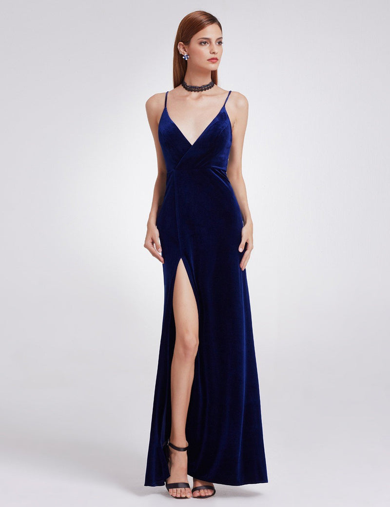 Sexy High Slit Evening Dress Blue