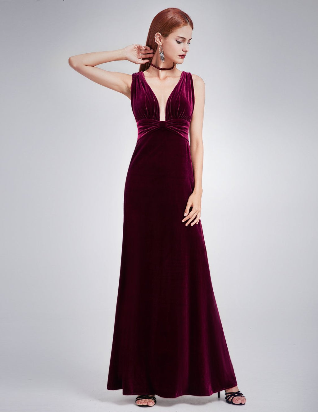 Sexy Neckline Velvet Long Dress Burgundy