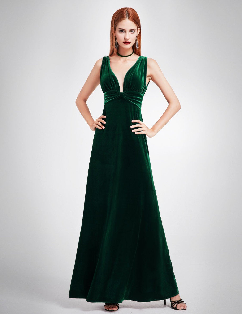Sexy Neckline Velvet Long Dress Dark Green