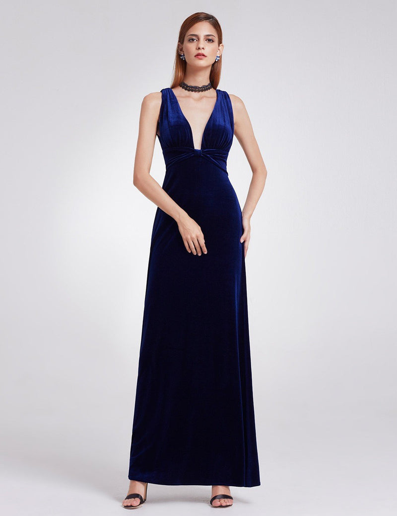 Sexy Neckline Velvet Long Dress Blue