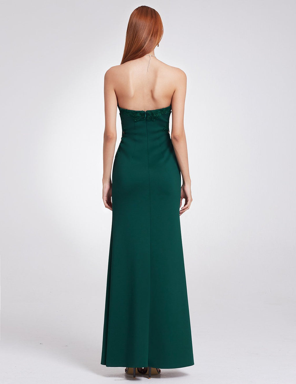 Romantic Strapless Long Dress Dark Green
